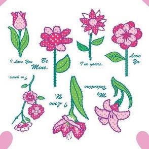 Valentines Flowers Stitched