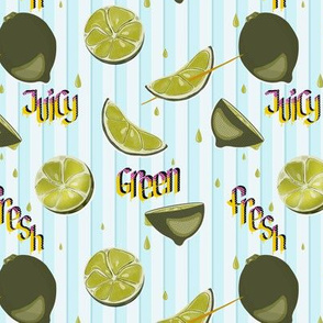 Juicy, green, fresh lime pop art