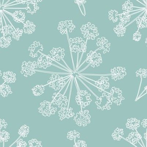 Floral Queen Anne's Lace teal blue