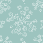 Botanical Queen Anne's Lace teal blue