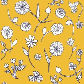 Hand-Drawn Flowers Gold