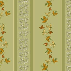Autumn Leaves - Falling Maple Leaves Stripe Multi