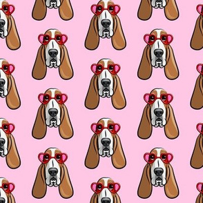 basset hounds with heart glasses - valentines - pink - LAD19