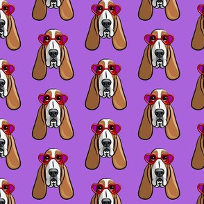 basset hounds with heart glasses - valentines - purple - LAD19