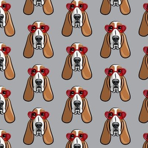 basset hounds with heart glasses - valentines - grey  - LAD19