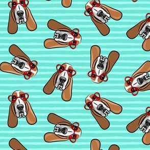 basset hounds with heart glasses - valentines - teal stripe toss  - LAD19