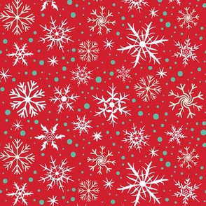 Festive Flakes on Red
