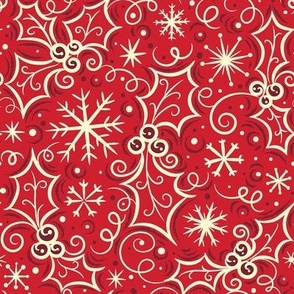 Jolly Holly Snowflake Vanilla on Red