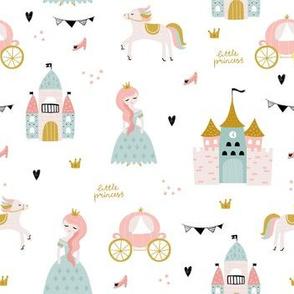 Cute princess, castle,carriage print