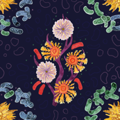Floral Galaxy Microbes