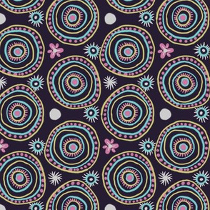 Circle Boho Doodles Purple