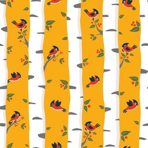 birch forest and birds