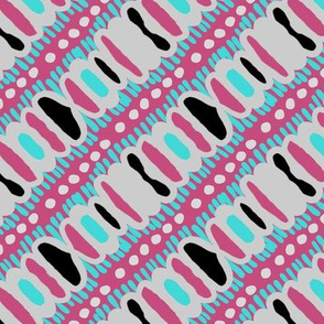 Diagonal Striped Pink Cyan Doodles