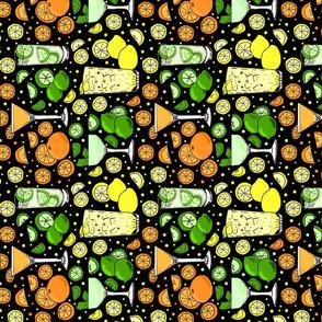 Citrus pop on black tea towel