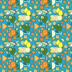 Citrus pop on blue tea towel