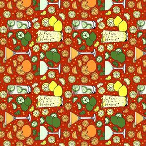 Citrus pop on red tea towel