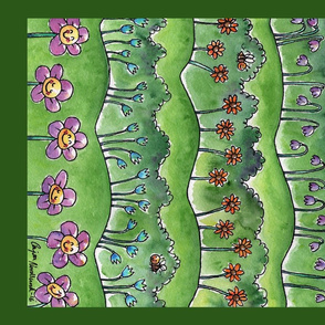 Water color art tea towel - flowers on hills