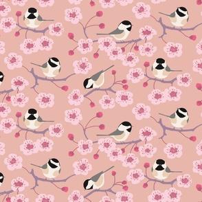 Cherry Blossom Chickadees