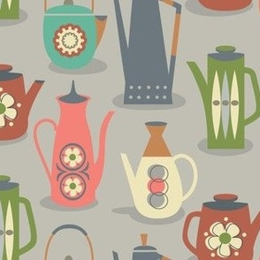 60s teapots on gray