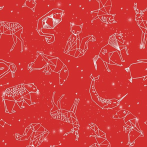 constellations // geometric animal nursery baby design cute constellations fabric - red