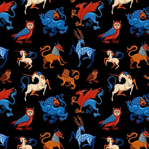 Magic unicorn and gryphon. Medieval fantastic beasts