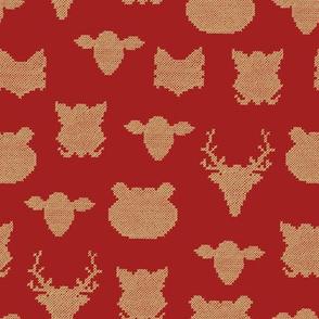woodland animals crossstich christmas