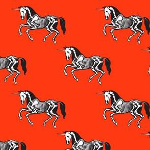 Unicorn skeleton on red