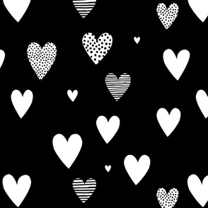 Black and White Love Hearts