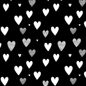 Black and White Love Hearts small