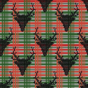 check pattern reindeer black - small scale