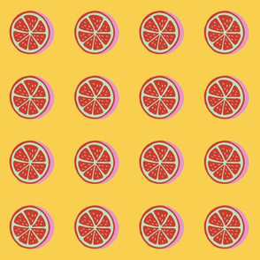 pop art citrus collection - red lemons on yellow-01