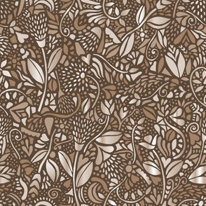 neutral bohemian flowers sepia