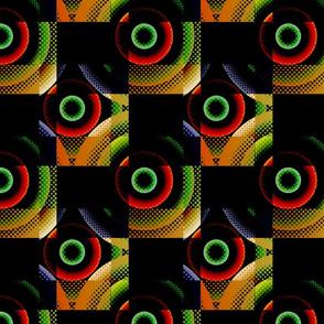 Geometric Checker - Black Orange
