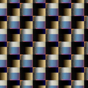 Geometric Checker - Brown Blue
