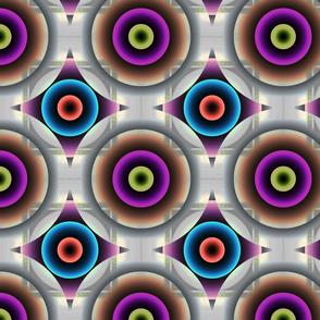 Geometric Circle - Pink Blue Purple