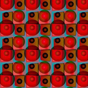 Geometric Circles - Red Blue