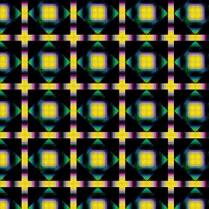 Geometric Squares - Yellow Blue Purple