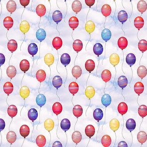 marbled swirl balloons - cloudy sky
