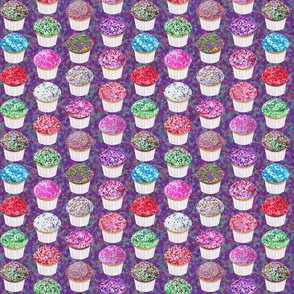 fun sprinkles party cupcakes mix on purple