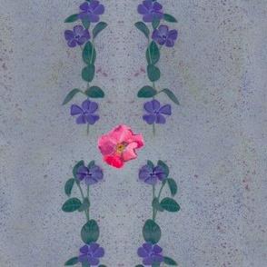 Floral Stripes on Slate Background