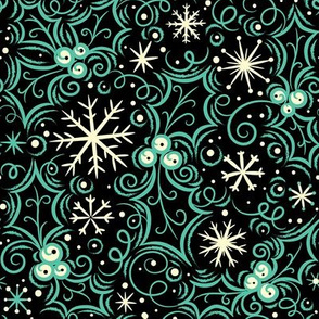 Jolly Holly Snowflake Aqua on Black