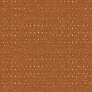Half size // White on Woven Copper Organic Polka Dots Spots
