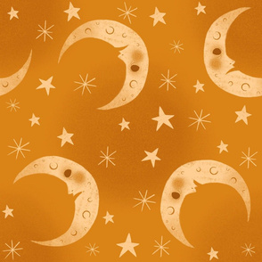 Yellow Moon and Star Pattern