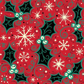 Jolly Black Holly Snowflake on Red
