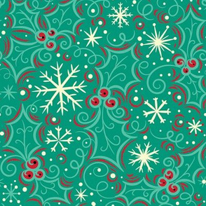 Jolly Holly Snowflake on Turquoise FINAL 150dpi