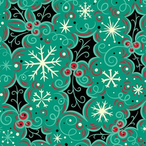 Jolly Black Holly Snowflake on Turquoise
