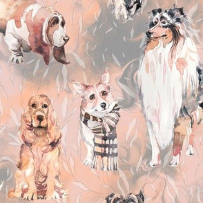 sweet dogs tan on coral apricot and grey watercolor FLWRHT