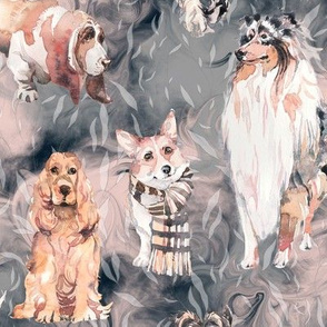 sweet dogs tan on indigo blue pink and grey watercolor FLWRHT