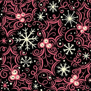 Jolly Holly Snowflake Pink on Black
