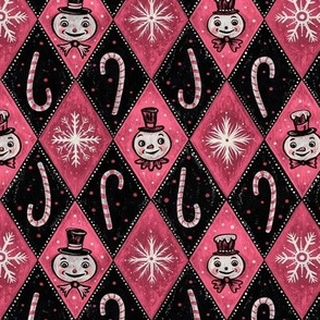 Frosty Pink Diamond Snowmen